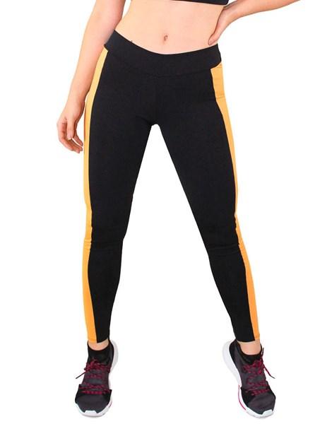 Calça Legging Fitness Preto com Faixa Amarelo REF: LC26