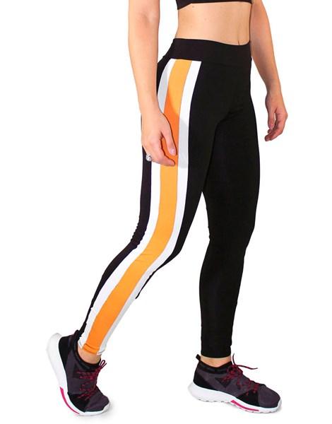 Calça Legging Fitness Preto com Listras Branco e Amarelo REF: LC28