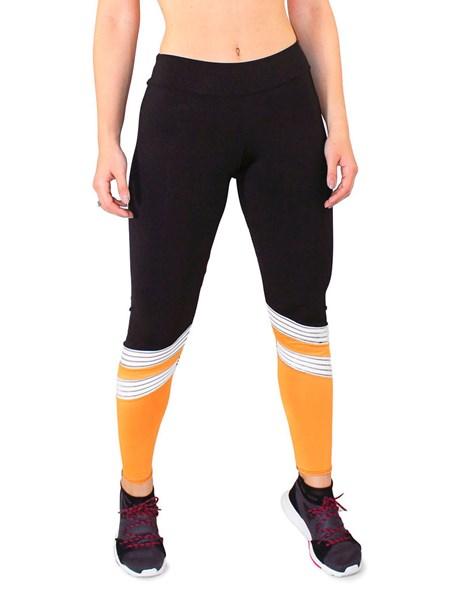 Calça Legging Fitness Preto Com listras Branco e detalhe amarelo REF: LC32