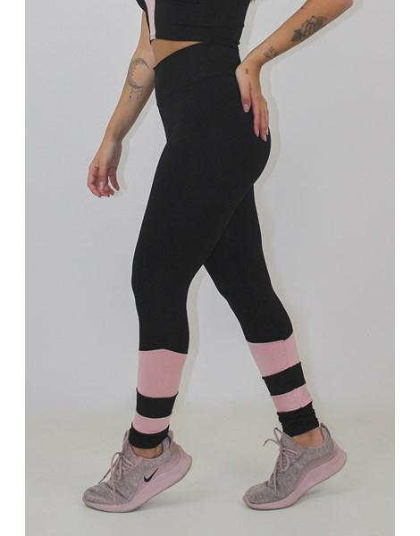 Calça Legging Fitness Preto com Rosê Detalhe Canela REF: LX91