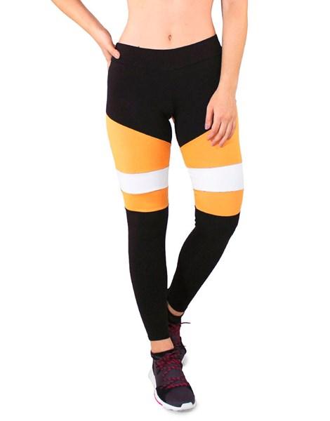 Calça Legging Fitness Preto Detalhe Amarelo e Branco REF: LC29