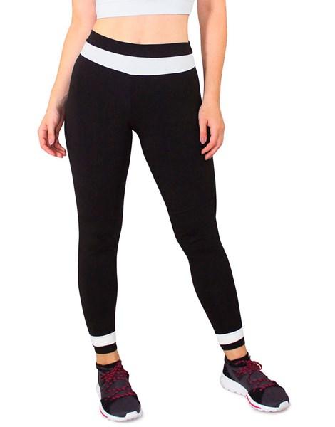 Calça Legging Fitness Preto Detalhe Branco Cintura REF: LC41