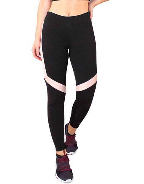 Calça Legging Fitness Preto Detalhe Branco Com Chocolate REF: LC51