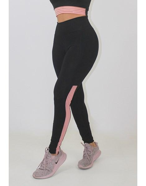 Calça Legging Fitness Preto Detalhe Rosê REF: LX154