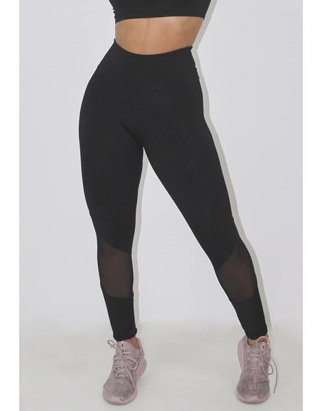 Calça Legging Fitness Preto Detalhe Transparente REF: LX116