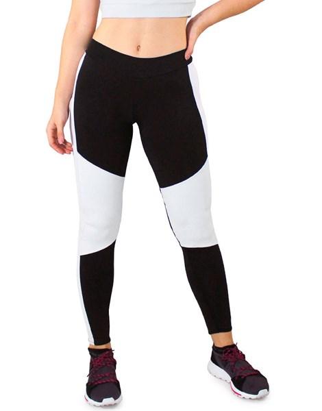 Calça Legging Fitness Preto Detalhes e Faixas Branco REF: LC43