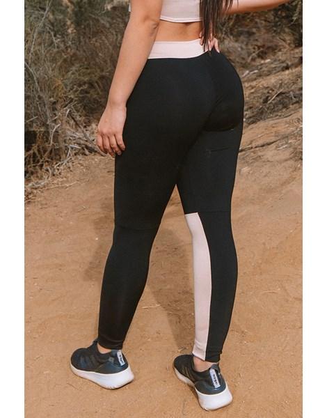 Calça Legging Fitness Preto Faixa Chocolate Cintura e Perna REF: LC53