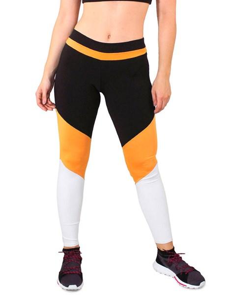 Calça Legging Fitness Preto Listra Amarelo Detalhes Amarelo e Branco REF: LC30