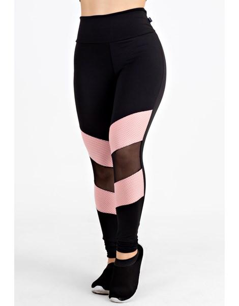 Calça Legging Fitness Preto Rosê Detalhe Transparente REF: LX102