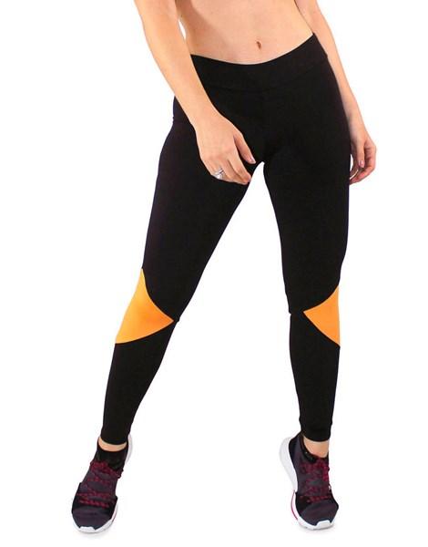 Calça Legging Fitness Preto + Traingulos Amarelo REF: LC25