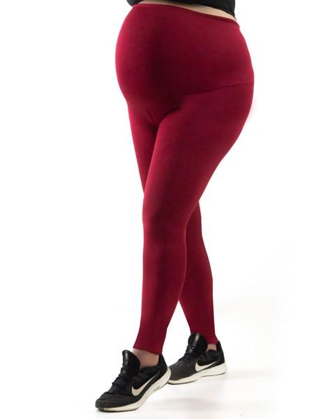 Calça Legging Gestante Fitness Cintura Extra Alta Gravida Confort Vermelho REF: FL2