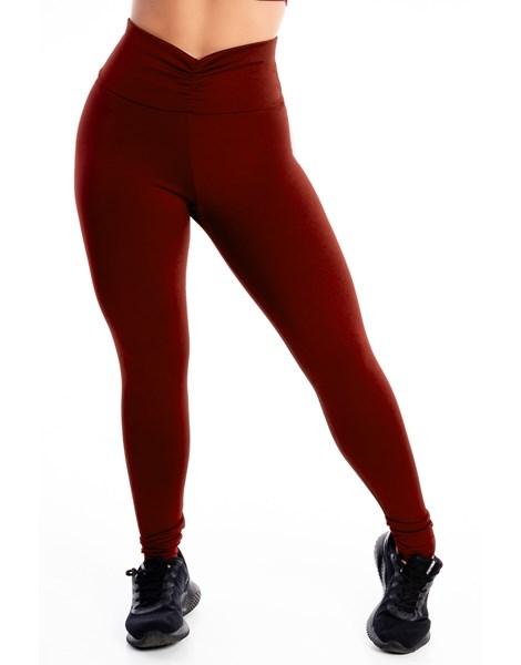 Calça Legging Lisa Detalhe Cós Vermelho REF: LX314