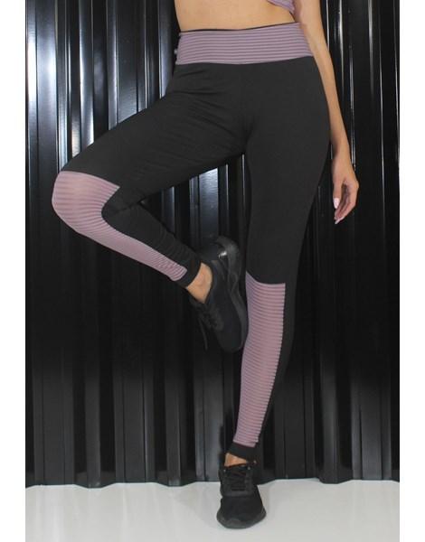 Calça Legging Preta com Detalhe Violeta REF: LX212