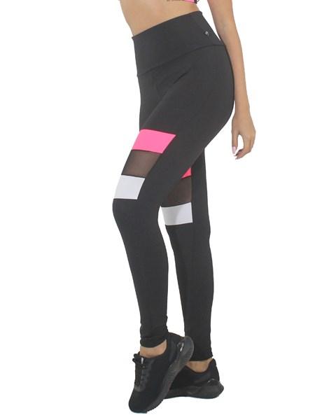 Calça Legging Preta e Branco Com Rosa Neon e Tela REF: LX210