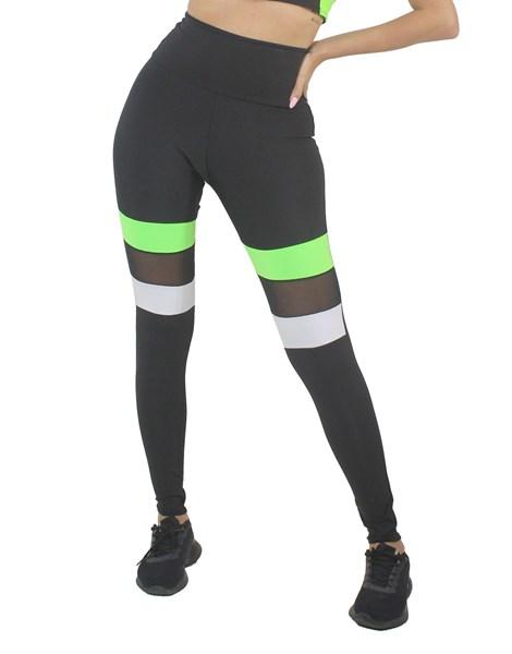 Calça Legging Preta e Branco Com Verde Neon e Tela REF: LX208