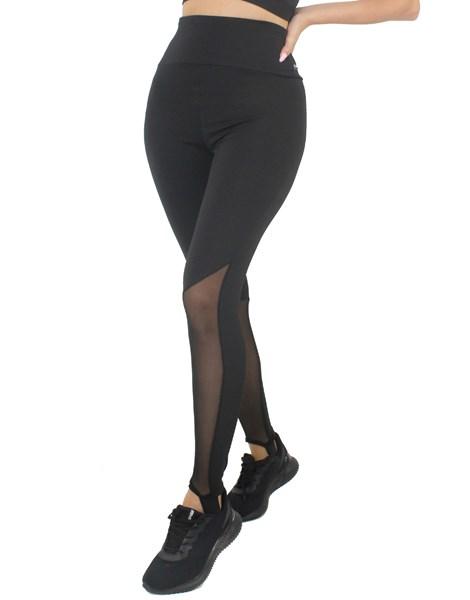 Calça Legging Preta Lisa Com Tela REF: LX183