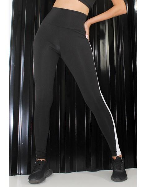 Calça Legging Preto com Listra Branca REF: LX200