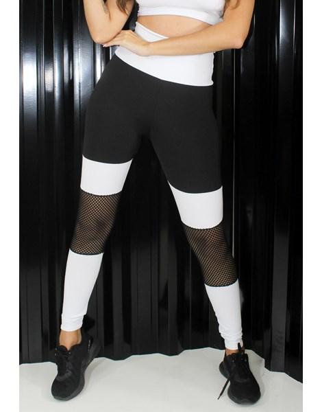 Calça Legging Preto e Branco Com Tela REF: LX206