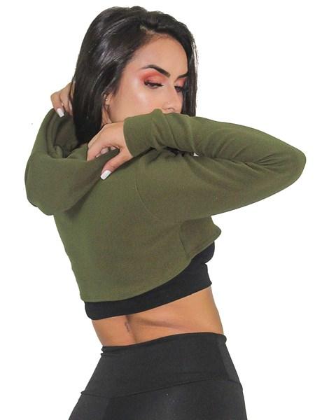 Casaco Feminino Moletom e Crepe Verde Com Preto REF: CSC8