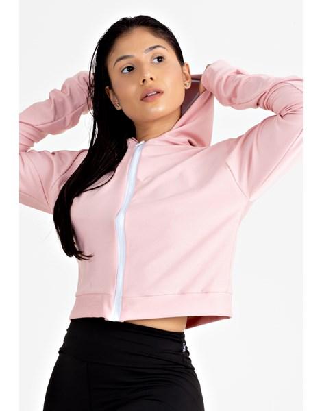Casaco Fitness Feminino Rosê com Branco REF: LX143