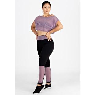 Conjunto 3 Peças Calça Legging Cropped de Dry e Cropped Liso REF: LX213