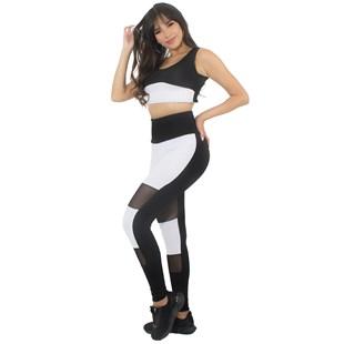 Conjunto Calça Legging Branca Preta Com Tela Cropped Branco e Preto REF: LX187