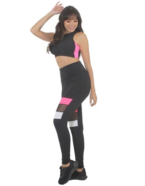 Conjunto Calça Legging Detalhe Preto e Branco Rosa Neon e Tela Cropped Preto REF: LX211