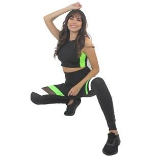 Conjunto Calça Legging Detalhe Preto e Branco Verde Neon e Tela Cropped Preto REF: LX209