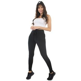 Conjunto Calça Legging Preta Lisa Com Cadarço e Cropped Branco REF: LX199