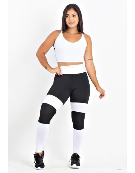 Conjunto Calça Legging Preto e Branco Com Tela Cropped Branco Com Detalhe em Tela REF: LX207