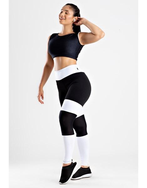 Conjunto Calça Legging Preto e Branco com Tela Cropped Branco com Tela REF: LX191