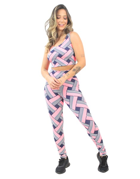 Conjunto Cropped e Calça Legging Estampado Abstract Colorful Square REF: CJXE1