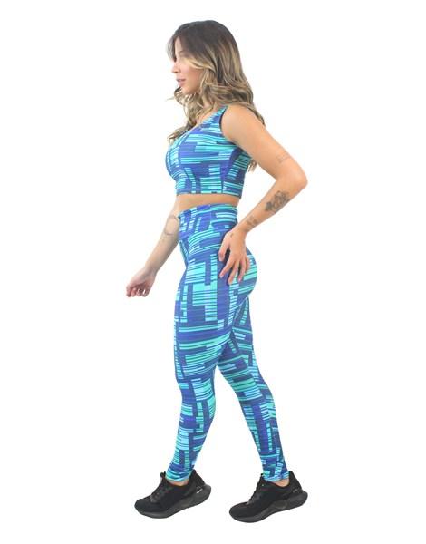 Conjunto Cropped e Calça Legging Estampado Blue Colorful Abstract REF: CJXE12
