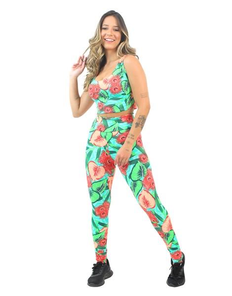 Conjunto Cropped e Calça Legging Estampado Cheerful Colorful Floral REF: CJXE8