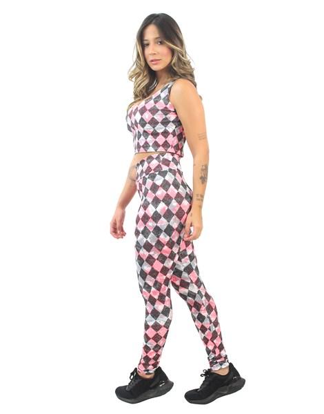 Conjunto Cropped e Calça Legging Estampado Colored Squares REF: CJXE7