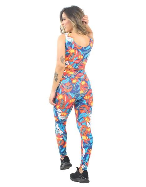 Conjunto Cropped e Calça Legging Estampado Colorful Flowers REF: CJXE2