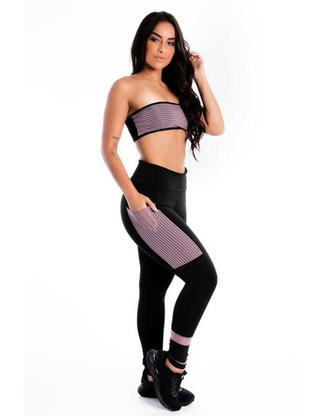 Conjunto Cropped e Calça Legging Preta com Violeta e Bolso REF: LX267