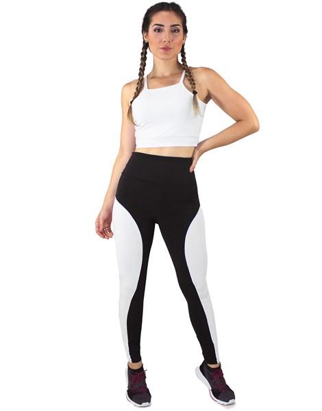Conjunto Fitness Academia Cropped Branco + Calça Fitness Preto Com Faixa Branco REF: LX058