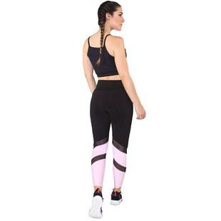 Conjunto Fitness Academia Cropped Preto + Calça Fitness Preto Com Detalhe Elástico Faixa Rosê REF: LX062