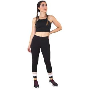 Conjunto Fitness Academia Cropped Preto + Calça Fitness Preto Com Detalhe Rosê e Branco REF: LX060