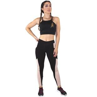 Conjunto Fitness Academia Cropped Preto + Calça Fitness Preto Com Detalhe Rosê REF: LX059