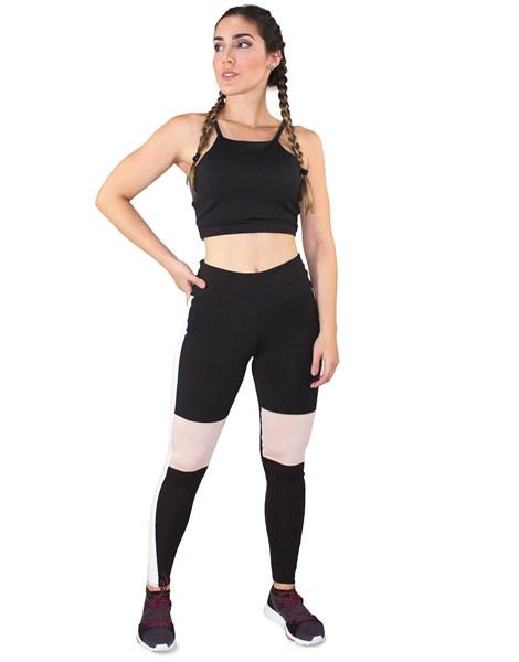Conjunto Fitness Academia Cropped Preto + Calça Fitness Preto Com Faixas Branca e Detalhe Rosê REF: LX064