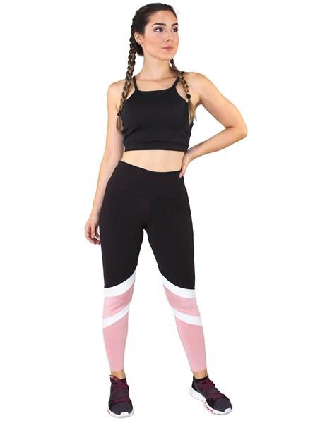 Conjunto Fitness Academia Cropped Preto + Calça Fitness Preto Com Faixas Branca e Rosê REF: LX063