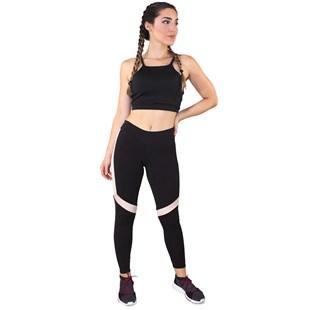 Conjunto Fitness Academia Cropped Preto + Calça Fitness Preto Com Faixas Branca e Rosê REF: LX065