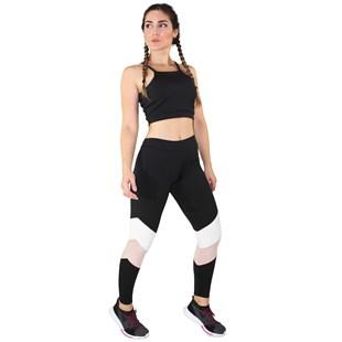 Conjunto Fitness Academia Cropped Preto + Calça Fitness Preto Com Faixas Rosê e Branco REF: LX061