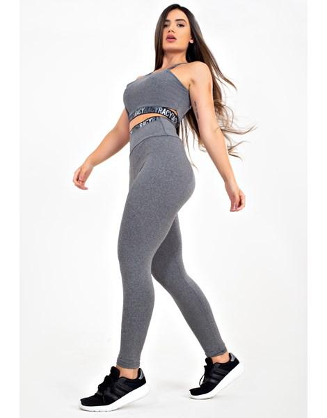 Conjunto Fitness Calça Legging Cintura Alta + Cropped Alcinha Cinza Mescla com Elásticos Racy REF: CCA5
