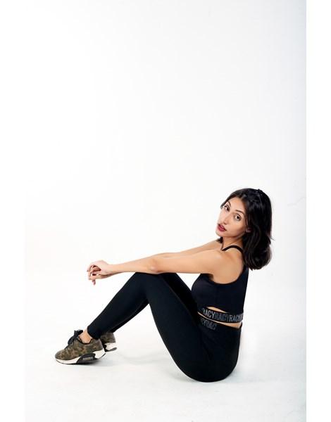 Conjunto Fitness Calça Legging Cintura Alta + Cropped Alcinha Preto com Elásticos Racy REF: CCA5