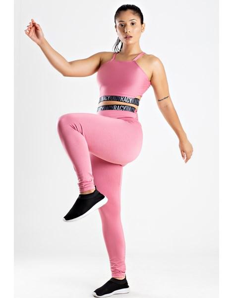 Conjunto Fitness Calça Legging Cintura Alta + Cropped Alcinha Rose com Elásticos Racy REF: CCA5