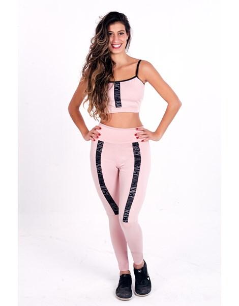 Conjunto Fitness Calça Legging Cintura Alta + Cropped Rose  com Elásticos  REF: CCA1