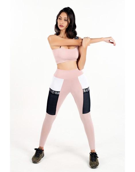 Conjunto Fitness Calça Legging com Bolso de Tela + Cropped Rose com Elásticos Racy REF: CCA8